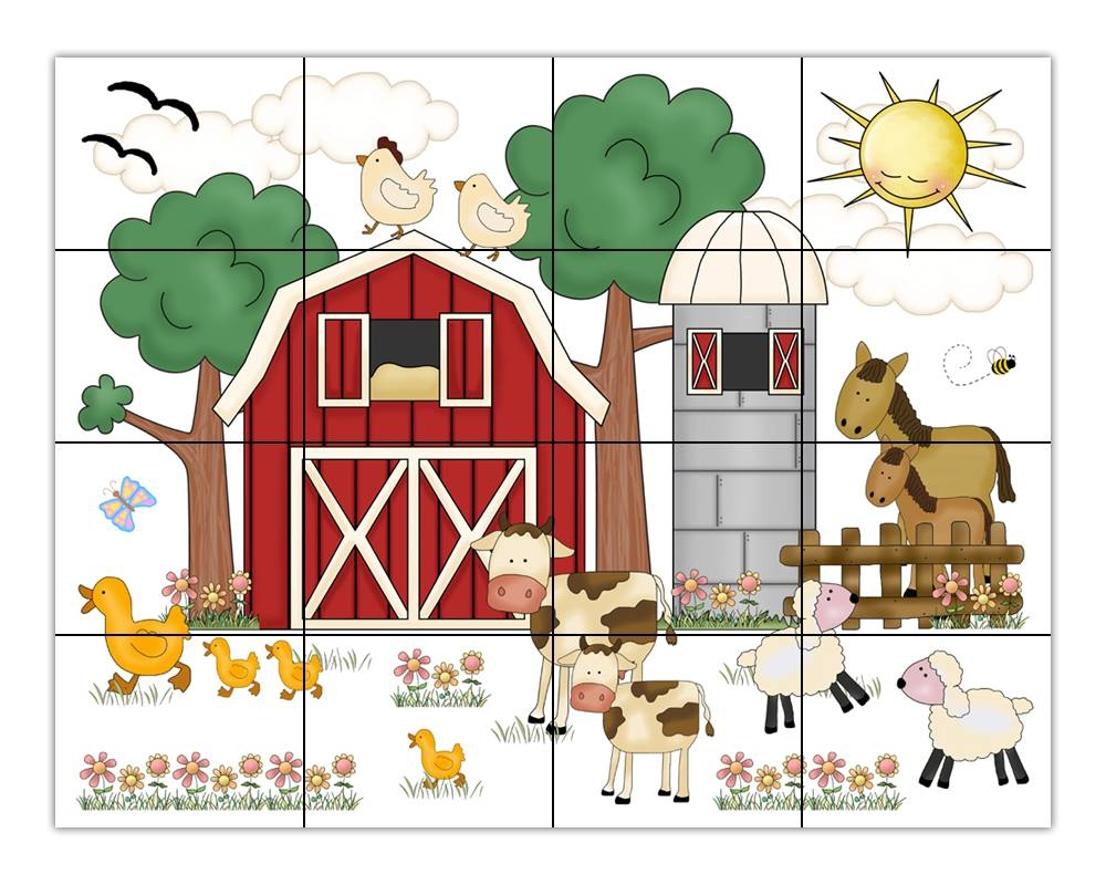 Barnyard Farm Animal Wall Art Mural Decals Baby Nursery Sticker In Latest Farm Animal Wall Art (View 3 of 20)