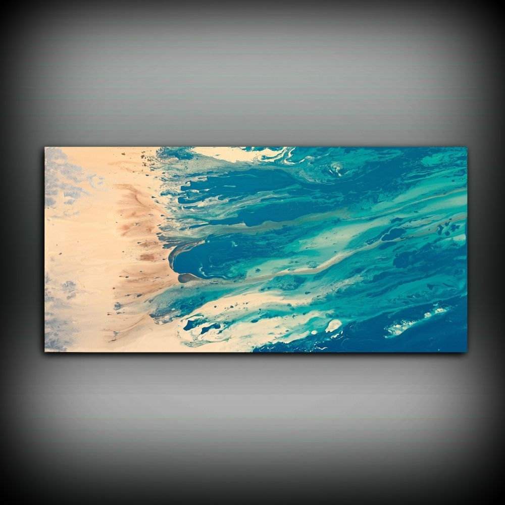 Beach Coastal Painting 24 X 48, Acrylic Painting On Canvas In Most Popular Abstract Beach Wall Art (View 8 of 20)