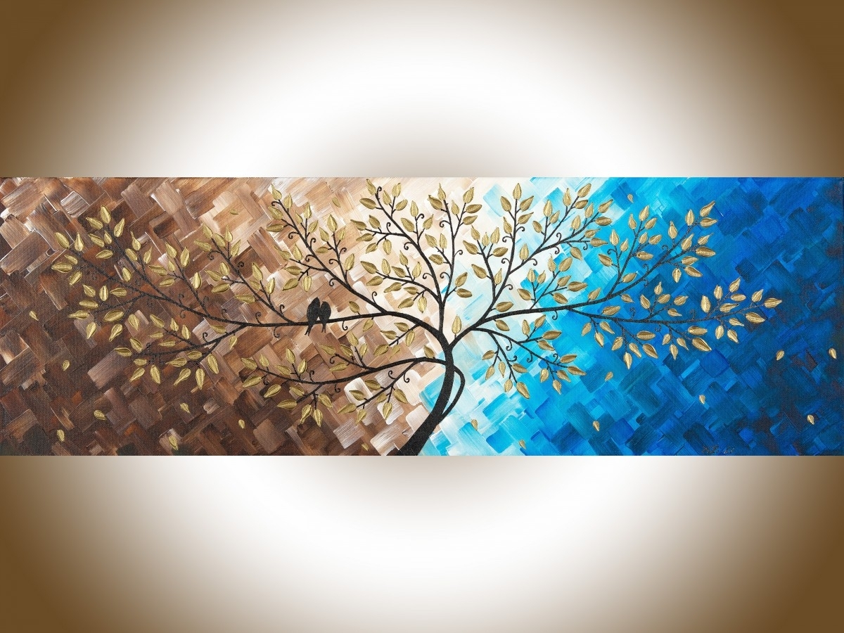 "Beautiful Loveqiqigallery 36"" X 12"" Original Modern Abstract Intended For Best And Newest Abstract Landscape Wall Art (View 9 of 20)"