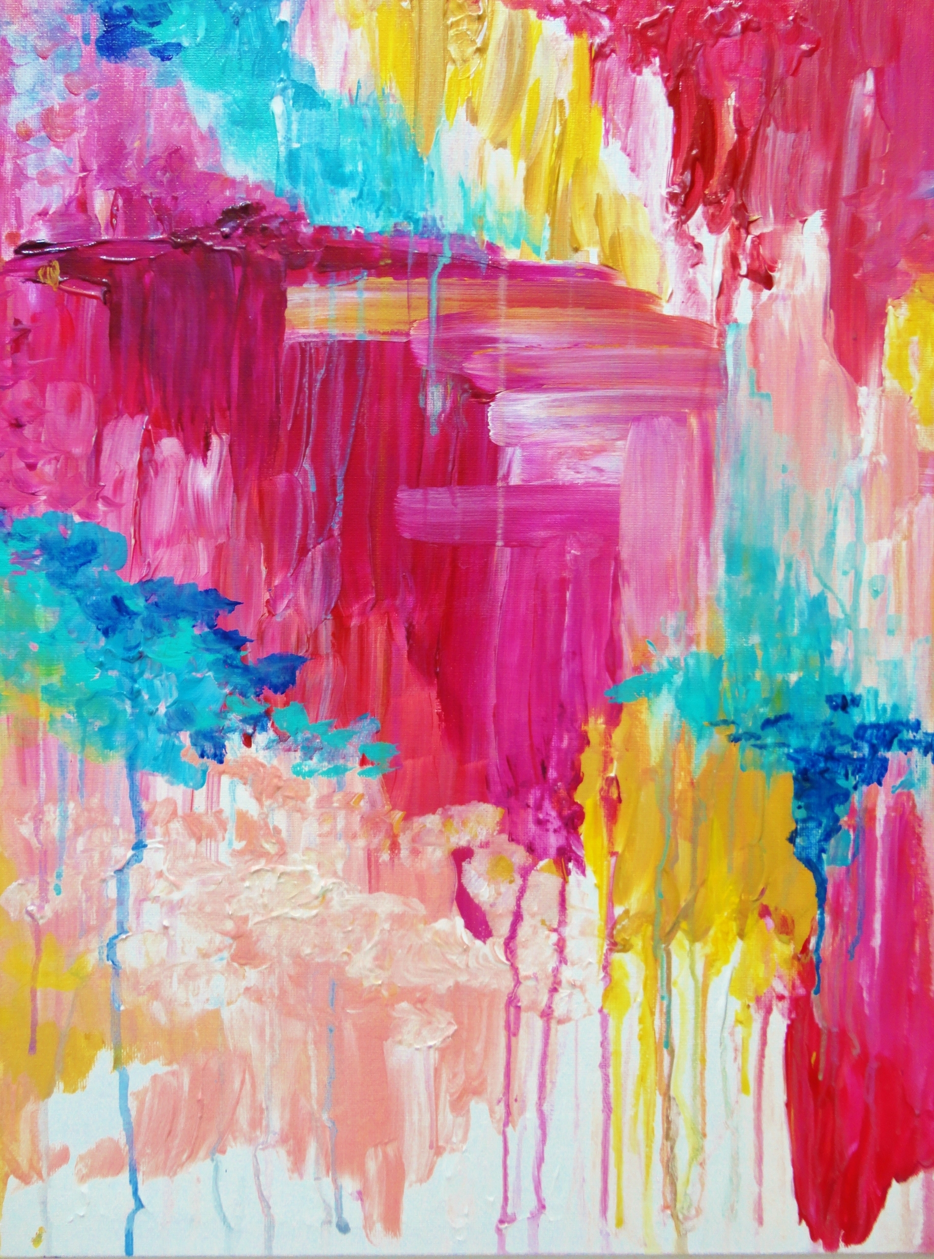 Beautiful Pastel Pop Of Color Painting, Free Shipping Elated With Latest Happiness Abstract Wall Art (View 5 of 20)