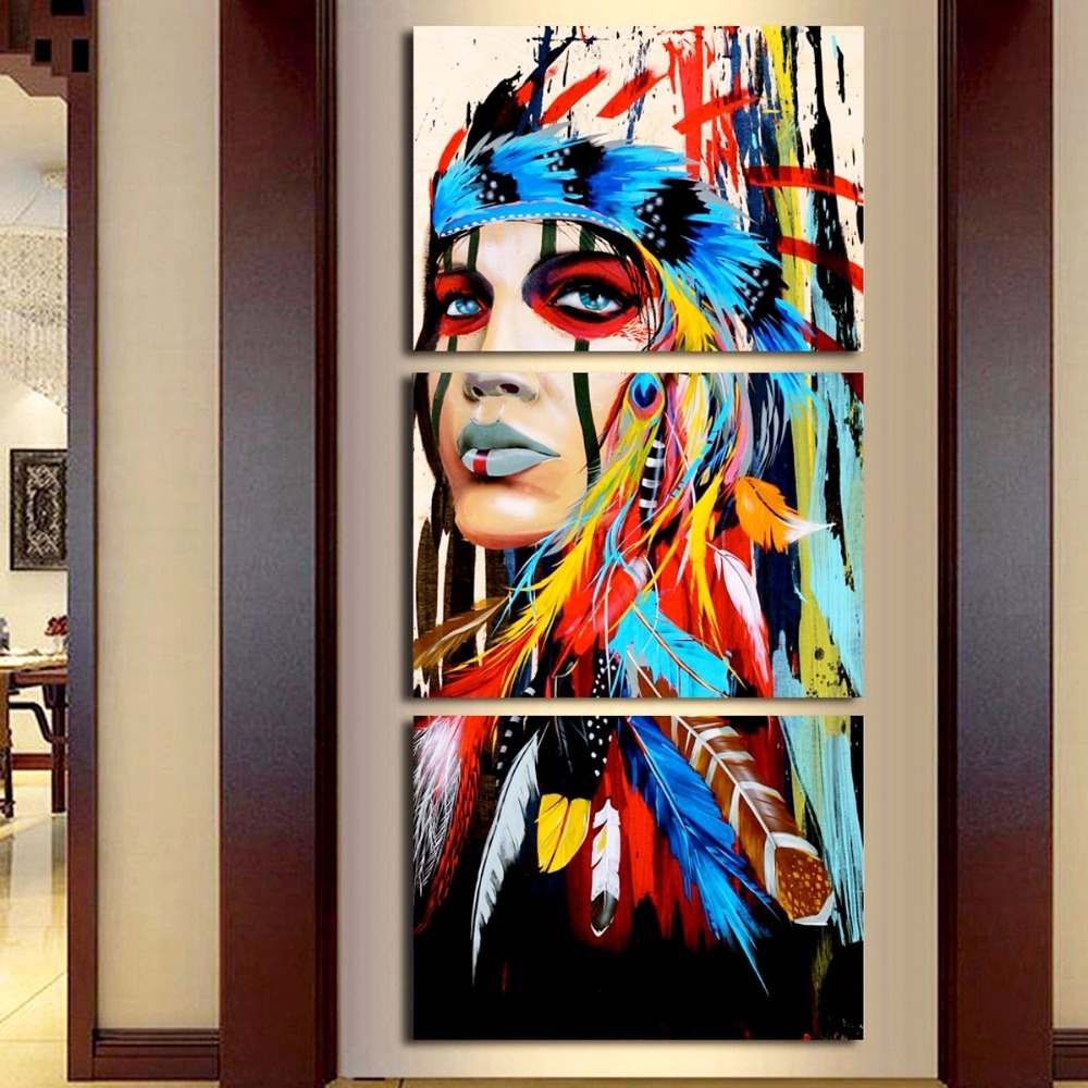 Beauty Native American Indian Girl Feathered Canvas Print Painting Within Newest India Abstract Wall Art (View 3 of 20)