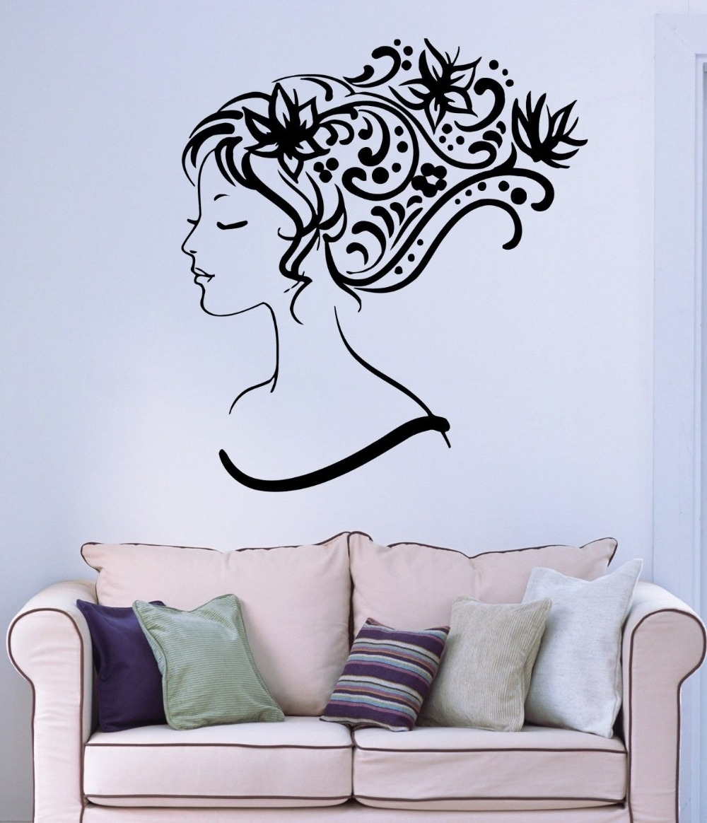Beauty Salon Vinyl Wall Decal Sexy Girl Abstract Hair Salon Flower In Latest Abstract Art Wall Decal (View 6 of 20)
