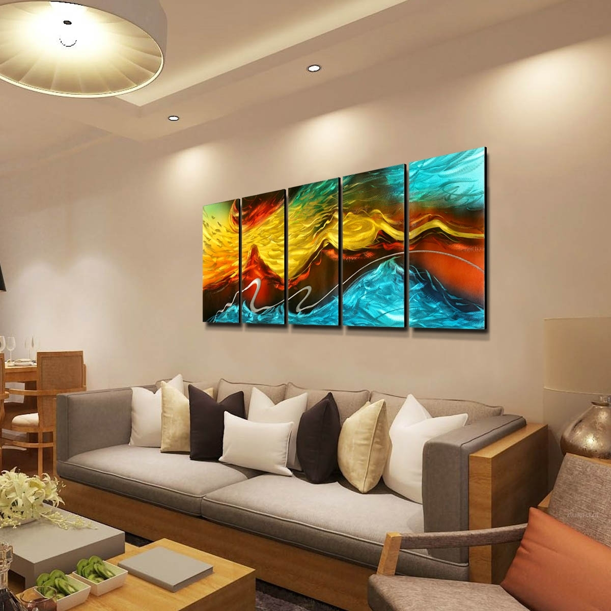 Best And Cheap Wall Hangings Tooarts Fire And Ice Modern Painting Intended For Most Current Abstract Wall Art For Living Room (View 13 of 20)