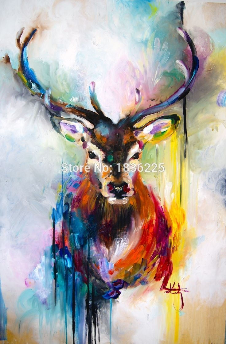 Best Selling Handmade Items Colorful Abstract Paintings Animals With Most Current Abstract Animal Wall Art (View 5 of 20)