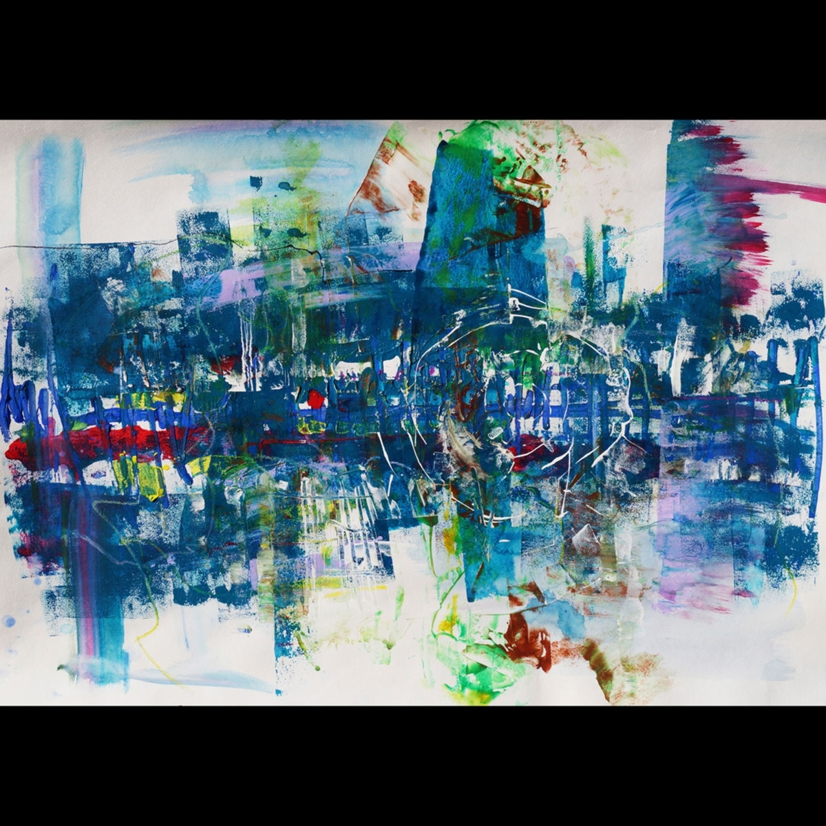 "Big Original Large Wall Art – ""city Blues"" – Modern Abstract Regarding Most Recent Abstract Expressionism Wall Art (View 8 of 20)"
