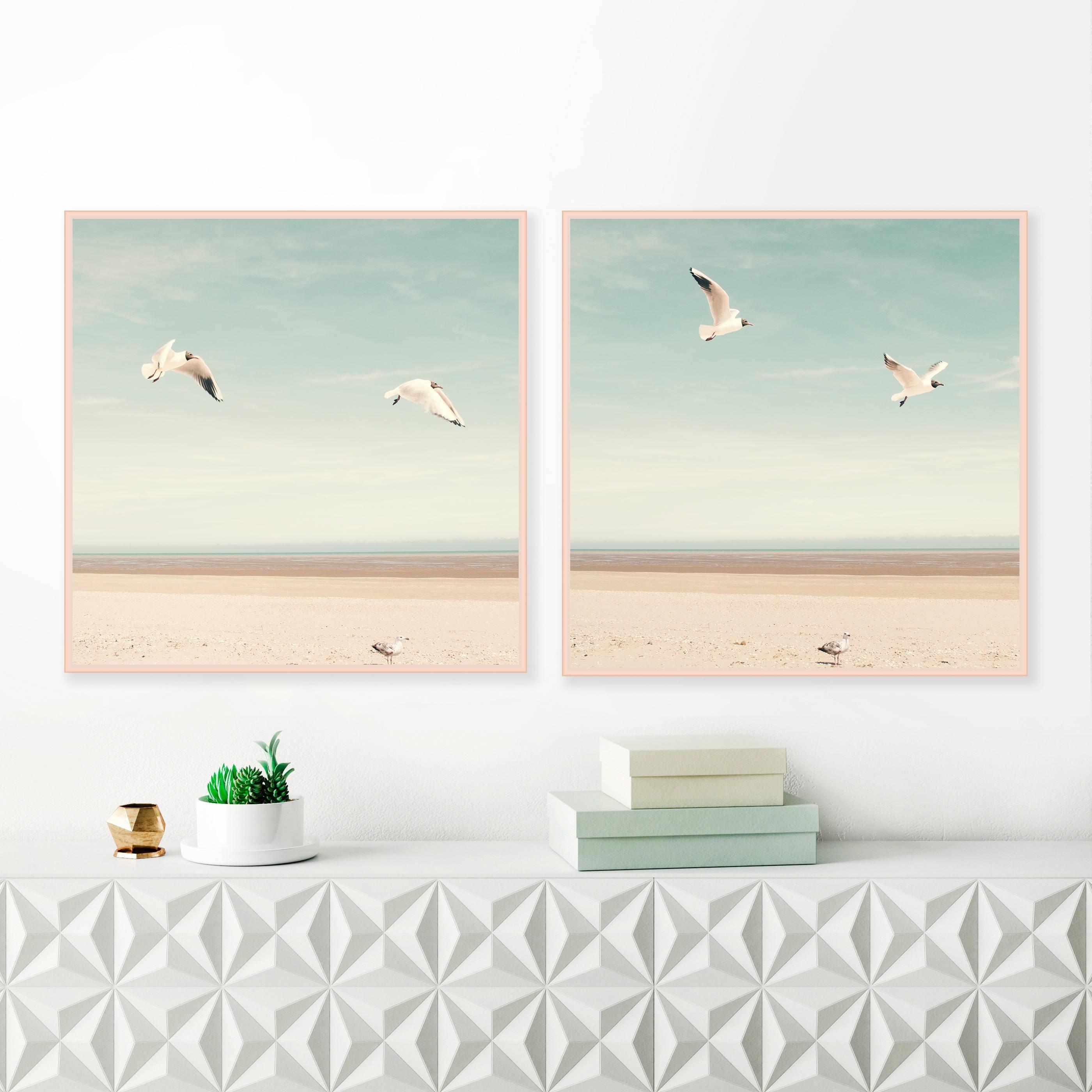 Bird Prints, Beach Photography, Beach Wall Art, Sea Gulls Inside Most Current LargeCoastal Wall Art (View 10 of 20)