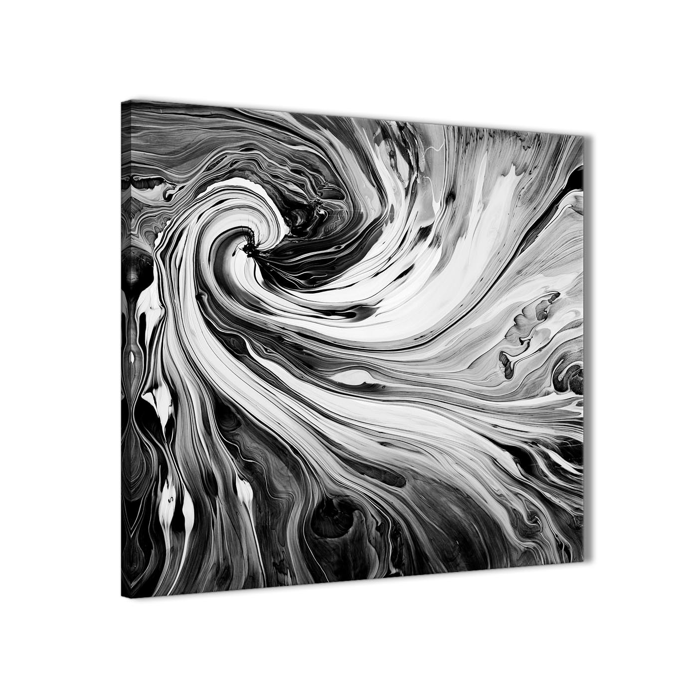 Black White Grey Swirls Modern Abstract Canvas Wall Art – 49Cm For 2017 Grey Abstract Canvas Wall Art (View 7 of 20)