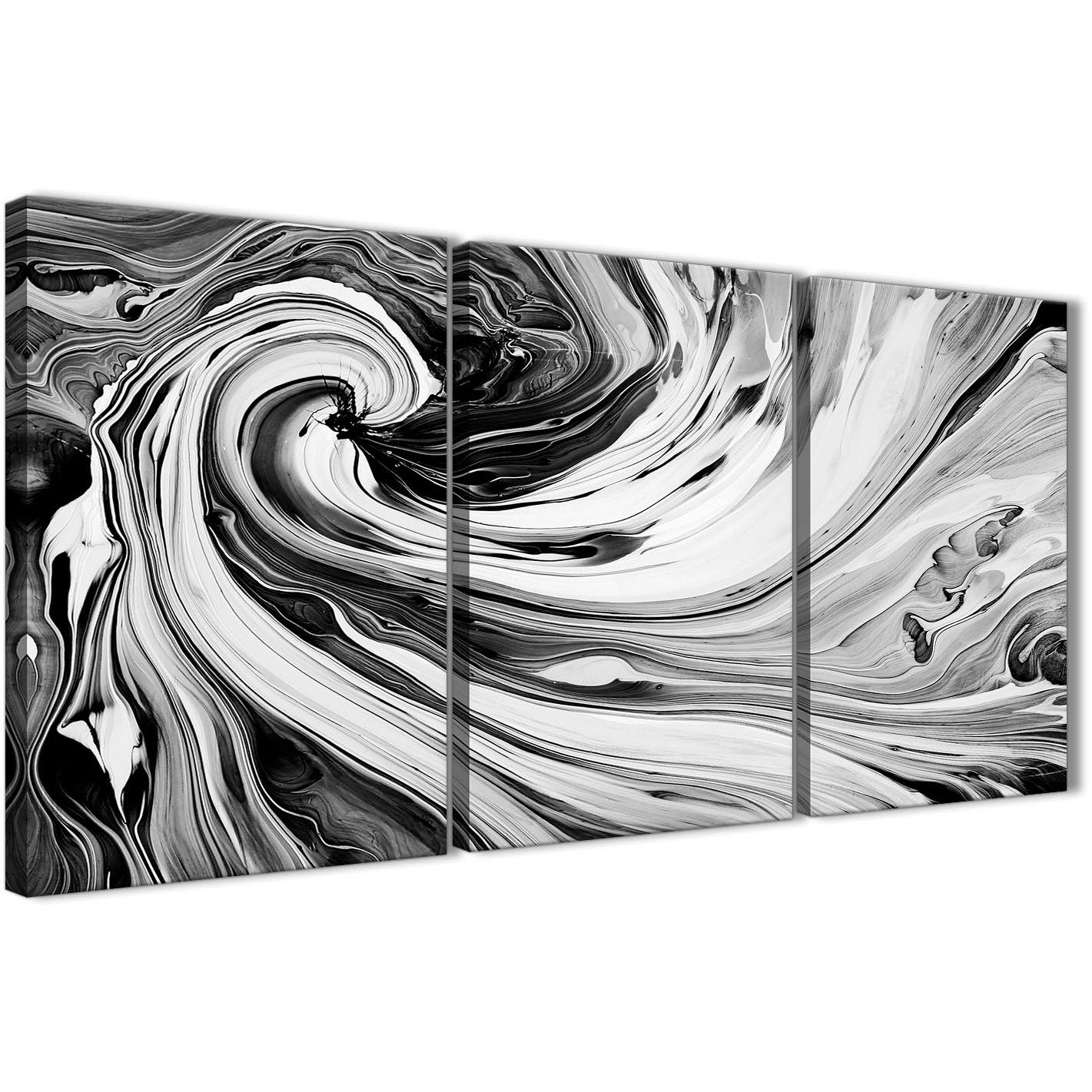 Black White Grey Swirls Modern Abstract Canvas Wall Art – Split 3 For Best And Newest Grey Abstract Canvas Wall Art (View 8 of 20)