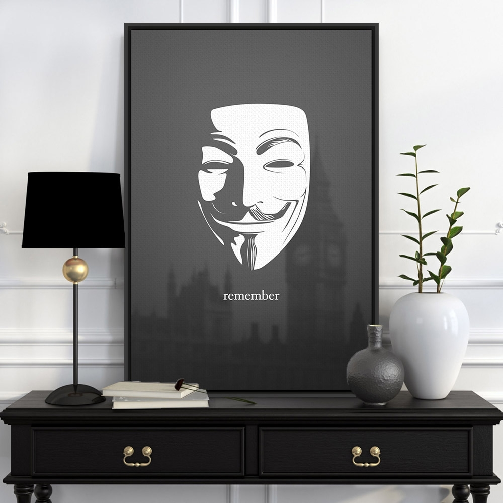 Black White London Pop Film Hero V For Vendetta Canvas Large Art Pertaining To Current Black And White Abstract Wall Art (View 6 of 20)