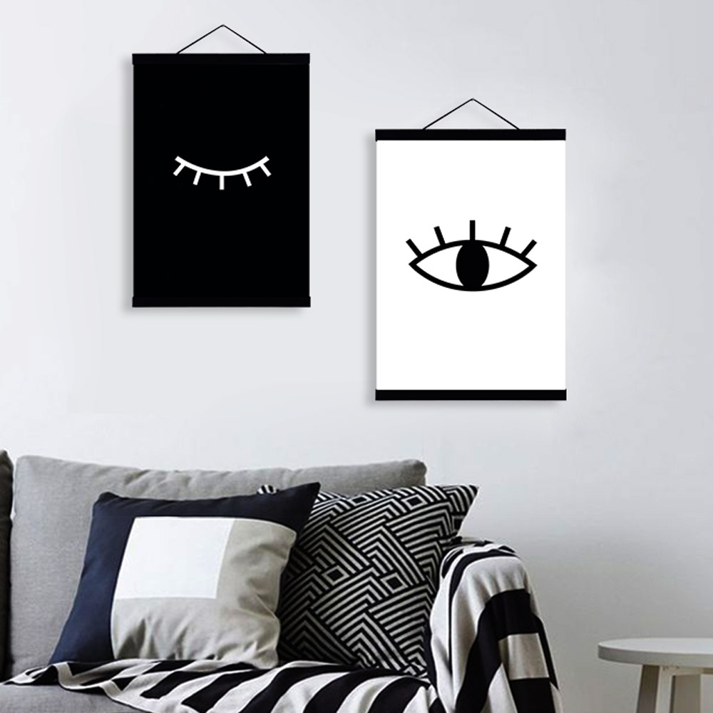 Black White Modern Abstract Eyes Poster Print Minimalist Nordic Throughout Current Black And White Abstract Wall Art (View 8 of 20)