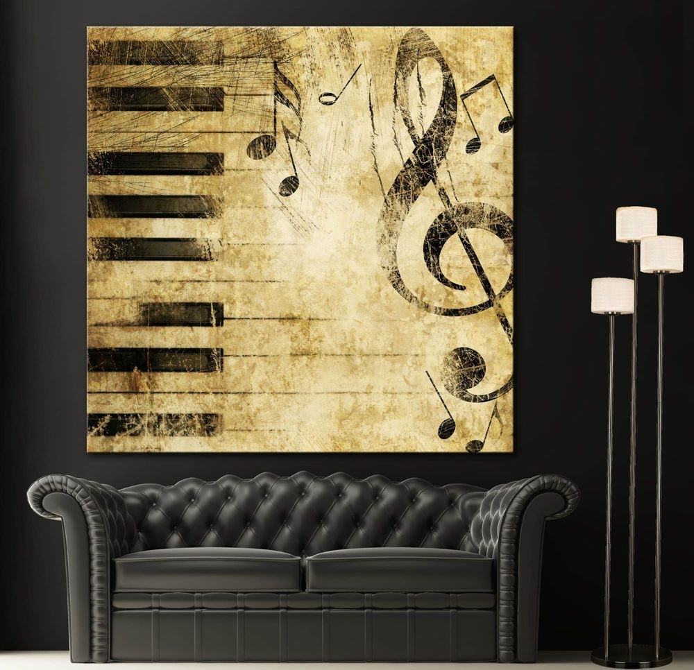 Black White Piano Keys Music Note Canvas Home Fine Wall Art Prints With Regard To Most Recently Released Abstract Musical Notes Piano Jazz Wall Artwork (View 3 of 20)