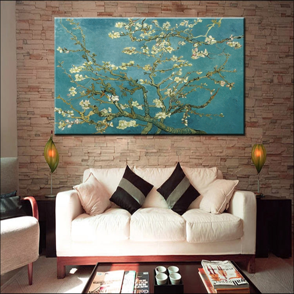 Blossoming Almond Tree Oil Painting Of Vincent Van Gogh Within Most Recently Released Almond Blossoms Vincent Van Gogh Wall Art (View 20 of 20)
