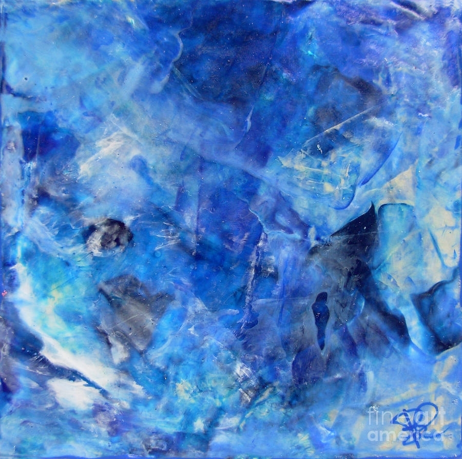 Blue Abstract Square Painting Blue Shades Modern Wall Art Within Most Popular Blue Abstract Wall Art (View 6 of 20)