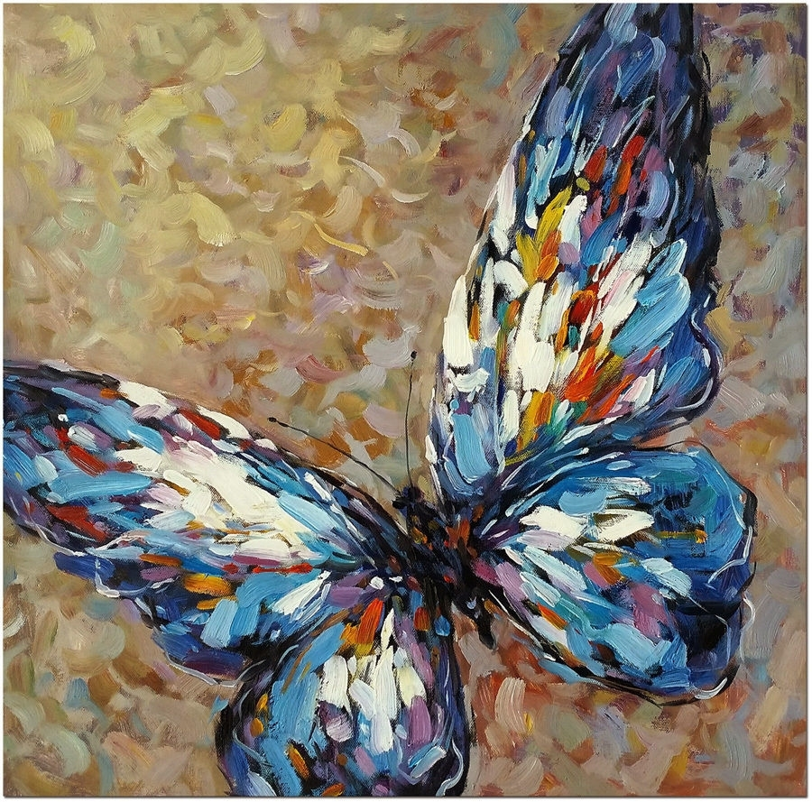 "Blue Butterfly – 20X20"" Hand Painted Modern Impressionist Oil Inside Recent Abstract Butterfly Wall Art (View 9 of 20)"