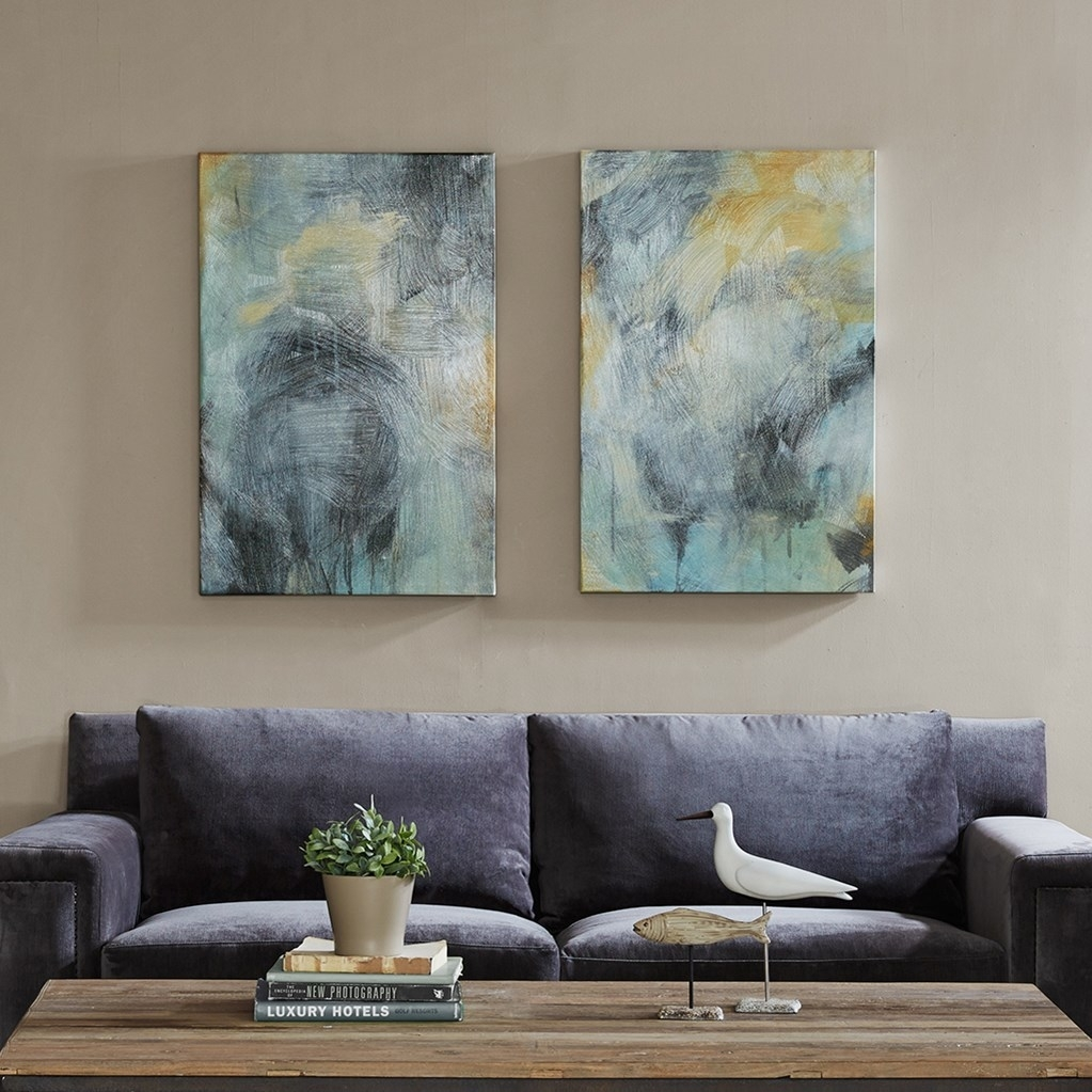 Blue & Gold Abstract Wave Wall Art – Set Of 3 Throughout Most Up To Date Grey Abstract Canvas Wall Art (View 11 of 20)