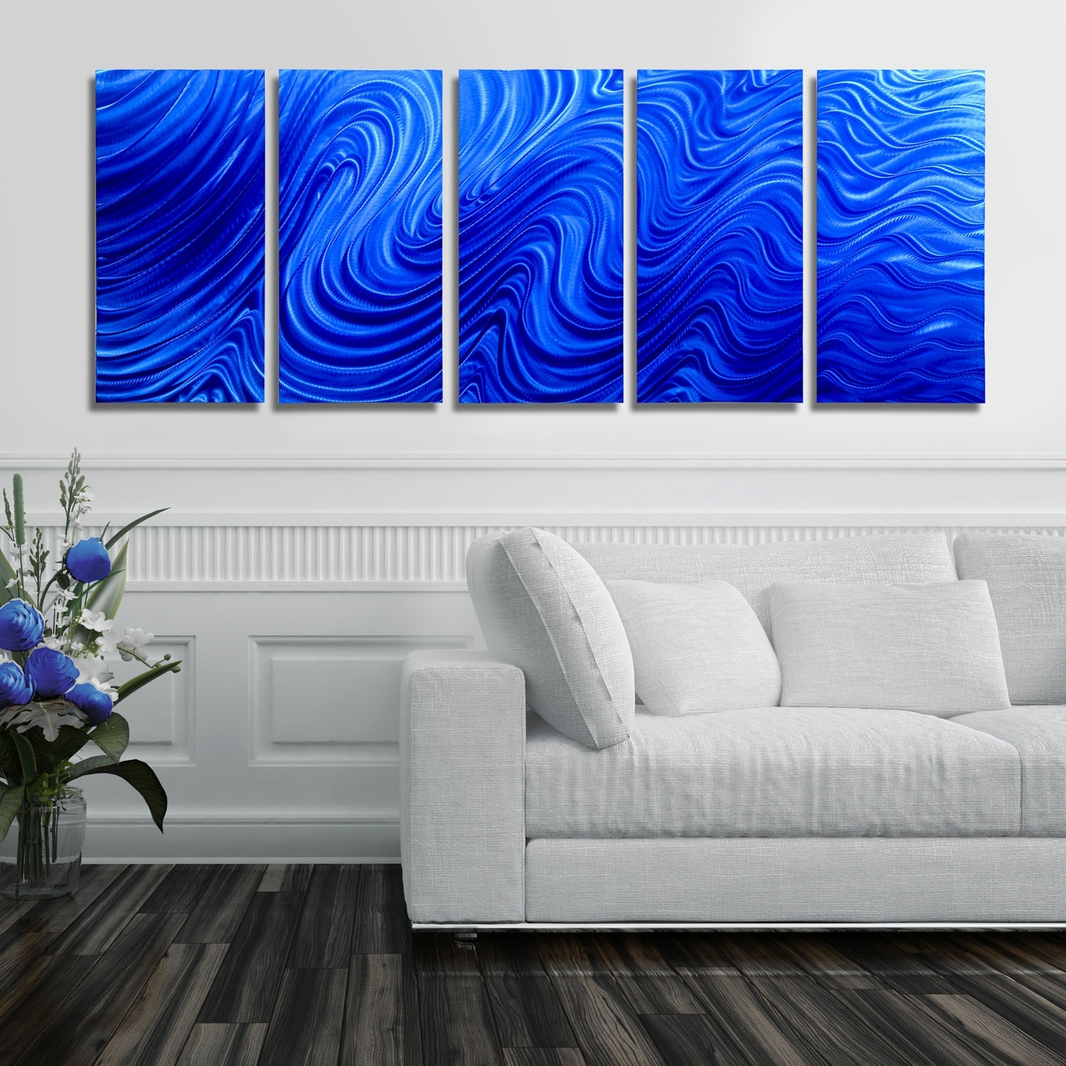 Blue Hypnotic Sands – Blue Four Panel Abstract Metal Wall Art Inside Best And Newest Abstract Metal Wall Art Panels (View 7 of 20)
