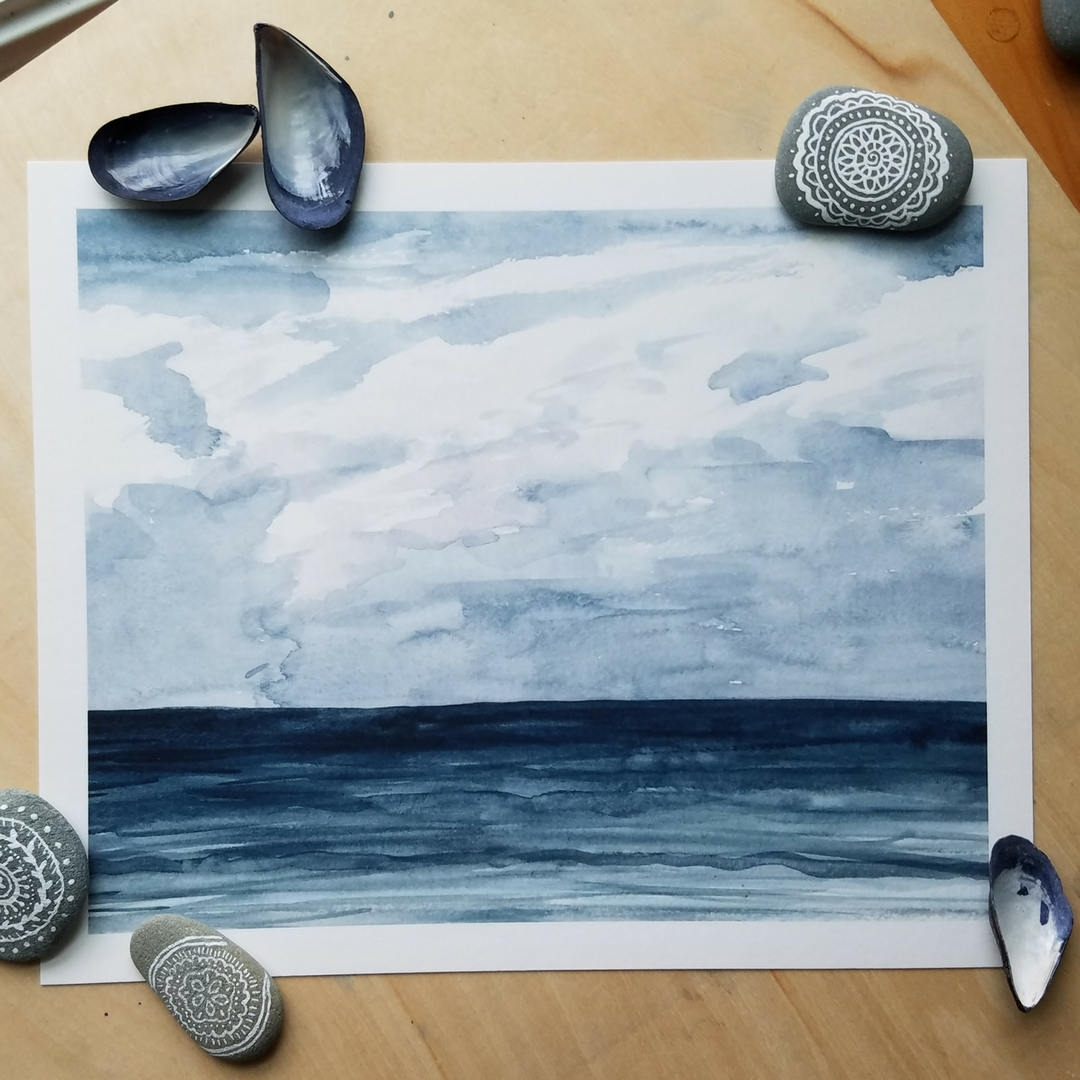 Blue Ocean Watercolor Print: Nautical Marine Water Sea Long Island Intended For Most Recent Abstract Nautical Wall Art (View 5 of 20)