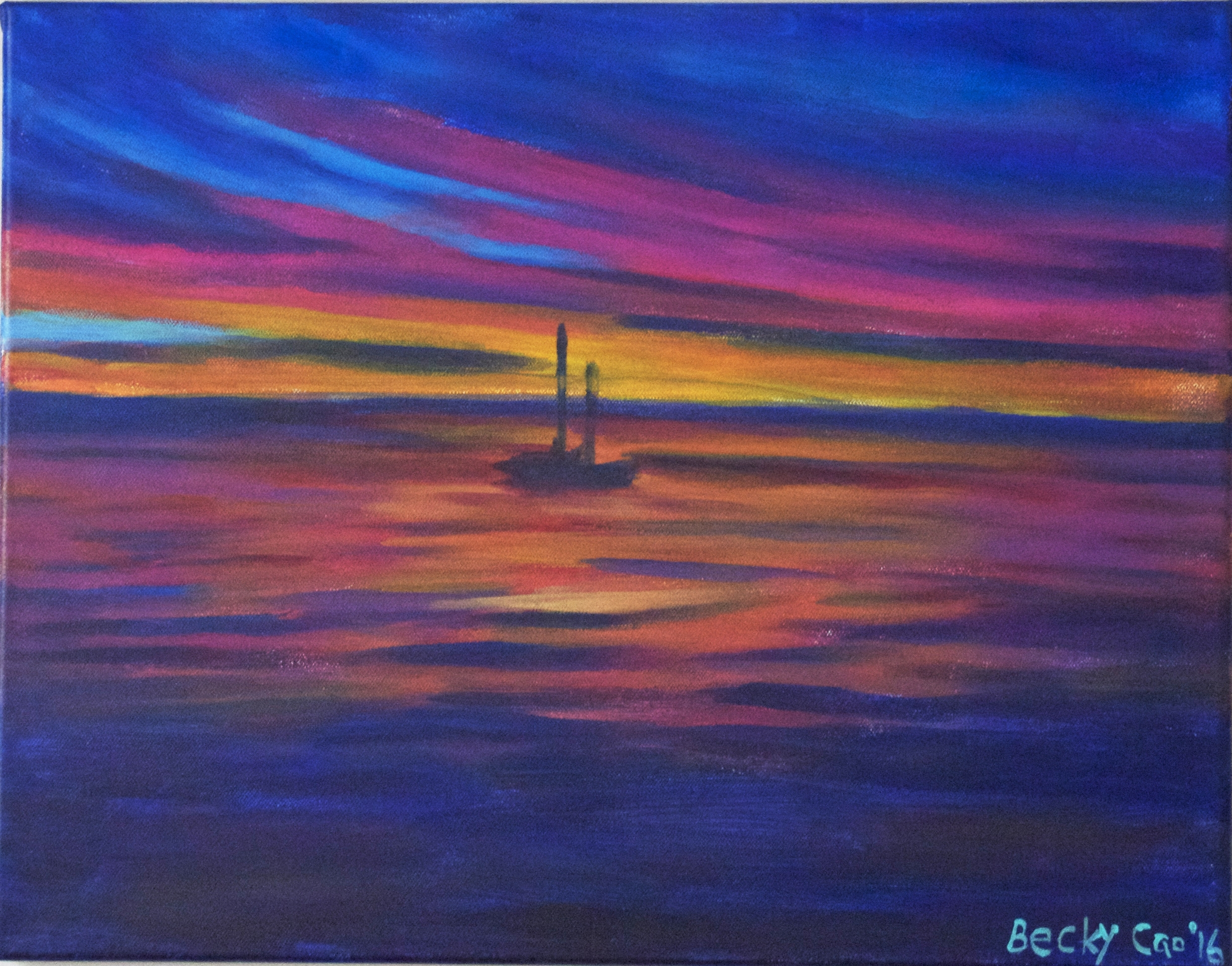 "Blue Red Sail Boat Painting  Ocean Wall Décor  16""20"" Acrylic Inside Most Popular Abstract Horizon Wall Art (View 4 of 20)"