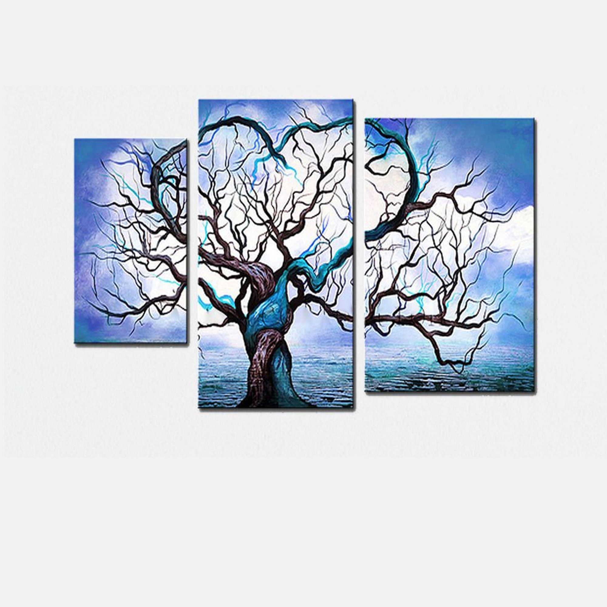 Blue Tree Love Landscape Canvas Wall Art Oil Painting | Creativity Within 2018 Blue Canvas Abstract Wall Art (View 9 of 20)