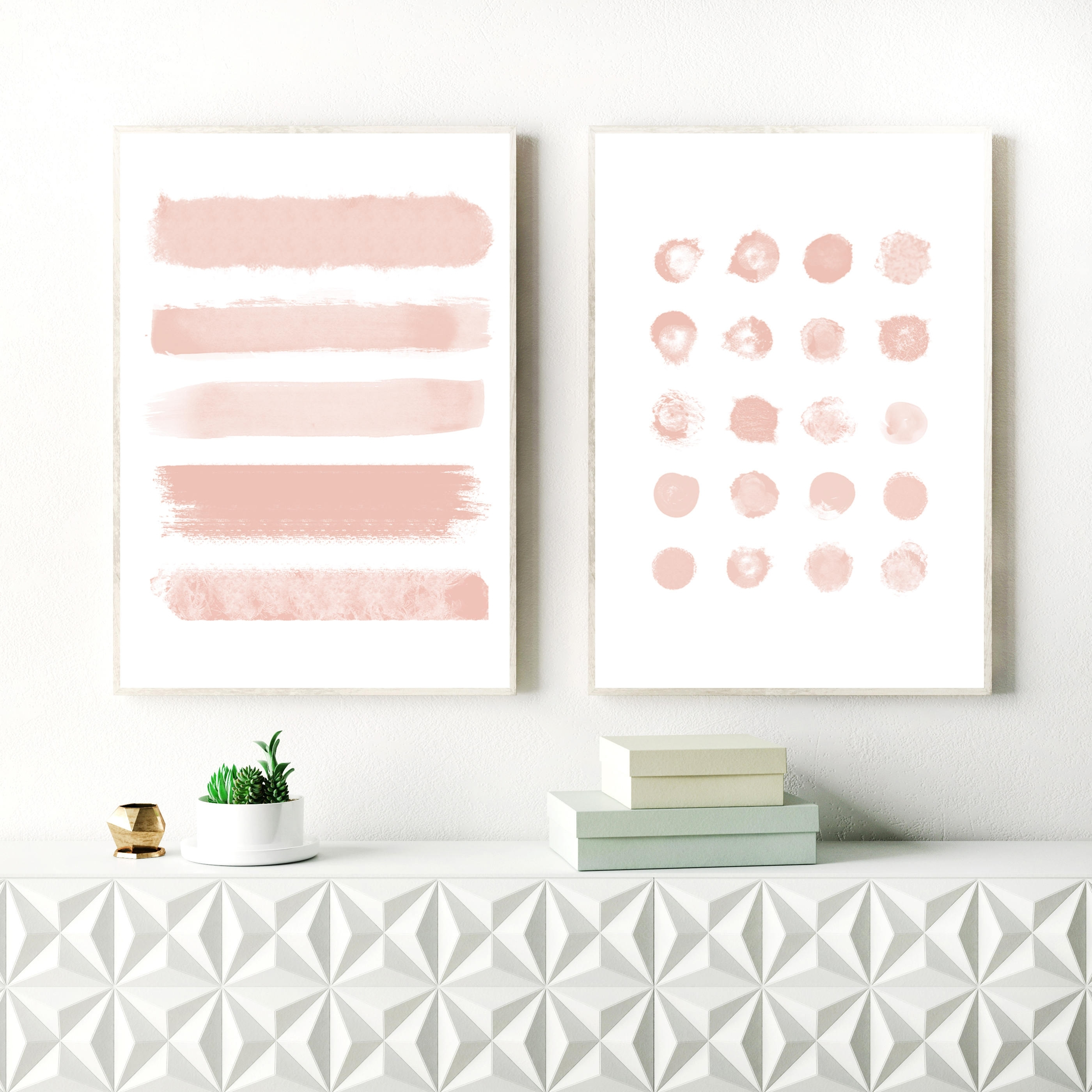 Blush Pink Abstract Art, Brushstrokes, Ink Blot Painting, Nursery In Most Recently Released Pink Abstract Wall Art (View 4 of 20)