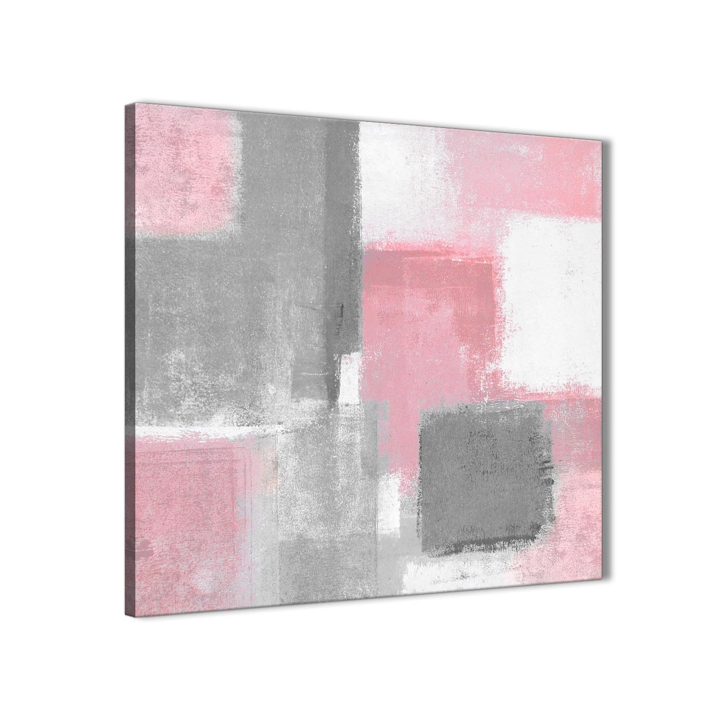 Blush Pink Grey Painting Hallway Canvas Wall Art Decorations Intended For Newest Grey Abstract Canvas Wall Art (View 11 of 20)