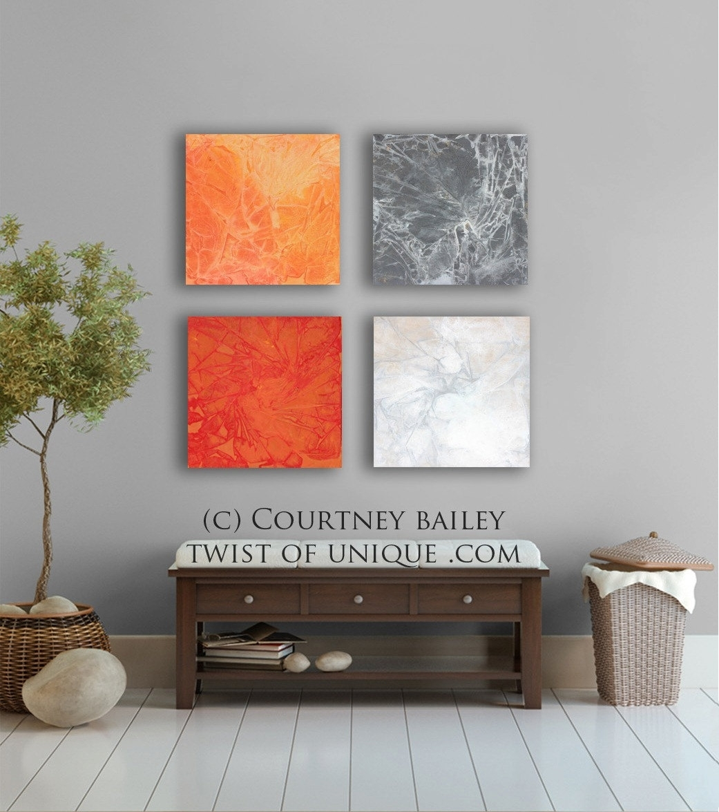Bold And Vivid Large Abstract Painting, – 4 Square Custom Abstract Within Best And Newest Bold Abstract Wall Art (View 6 of 20)