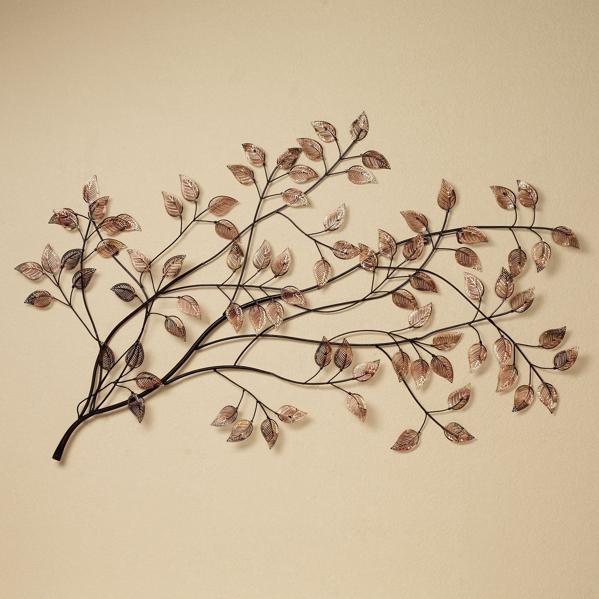 Branches At Sunrise Leaf Metal Wall Sculpture | Metal Wall Intended For Best And Newest Abstract Leaf Metal Wall Art (View 7 of 20)