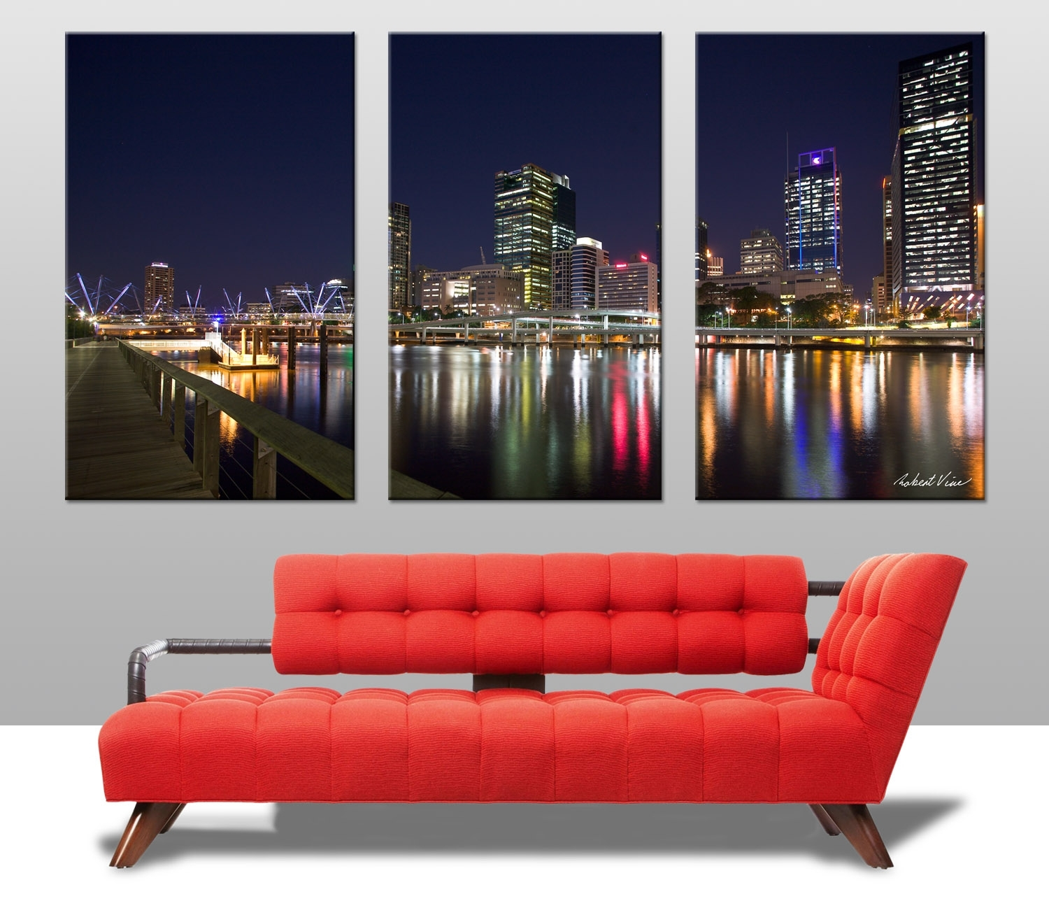 Brisbane Triptych Wall Art On Canvas Regarding Most Recent Brisbane Abstract Wall Art (View 2 of 20)