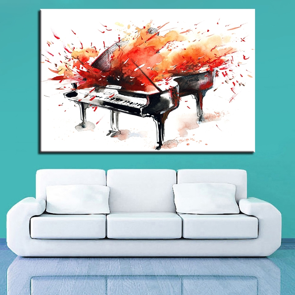 Buy Abstract Piano Art And Get Free Shipping On Aliexpress With Regard To Recent Abstract Piano Wall Art (View 6 of 20)