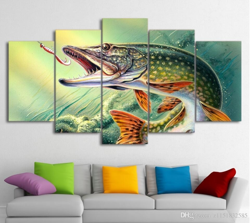 Canvas Art Fishing Hooked Pike Fish Canvas Painting Wall Pictures Intended For Best And Newest Abstract Fish Wall Art (View 5 of 20)