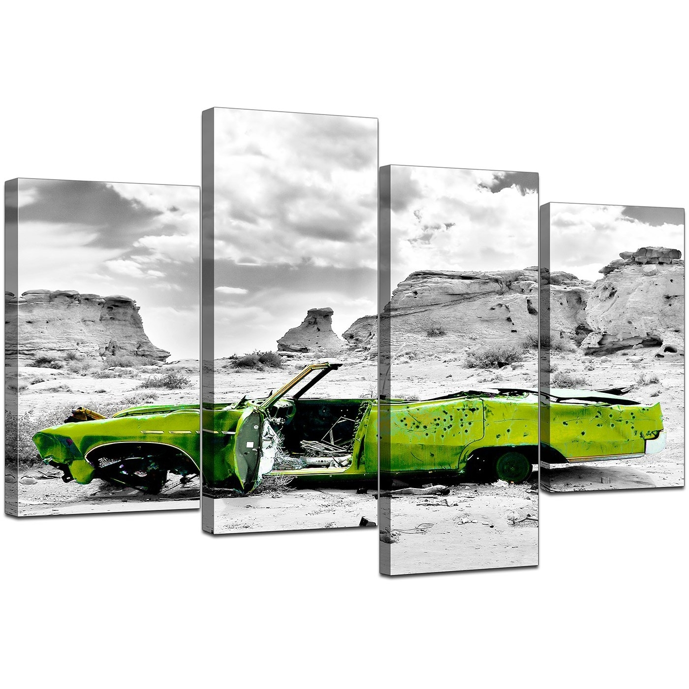 Canvas Art Of Green Car In Black & White For Your Office Pertaining To 2017 Lime Green Abstract Wall Art (View 12 of 20)