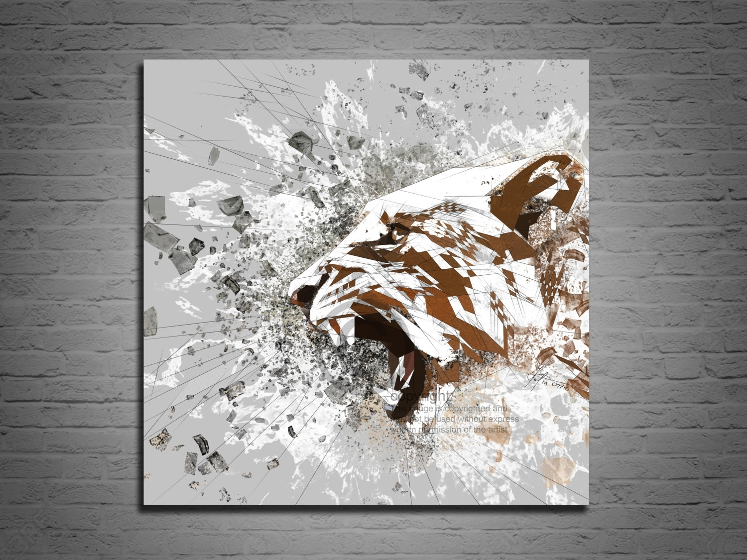 Canvas Art Print Lion Abstract Art, Living Room Decor, Roaring For Most Current Abstract Lion Wall Art (View 8 of 20)