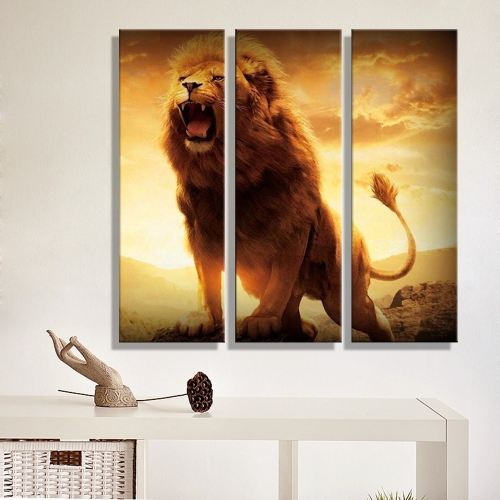 Canvas Painting Abstract Lion Sunset Landscape Wall Art Decoration Pertaining To Most Recent Abstract Lion Wall Art (View 9 of 20)