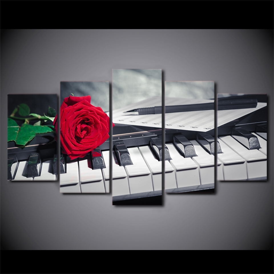 Canvas Painting Wall Art Abstract Decorative Pictures 5 Panel Inside 2017 Abstract Piano Wall Art (View 7 of 20)