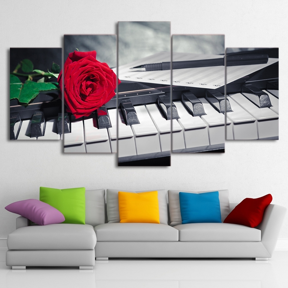 Canvas Painting Wall Art Abstract Decorative Pictures 5 Panel Intended For Most Current Abstract Piano Wall Art (Gallery 5 of 20)