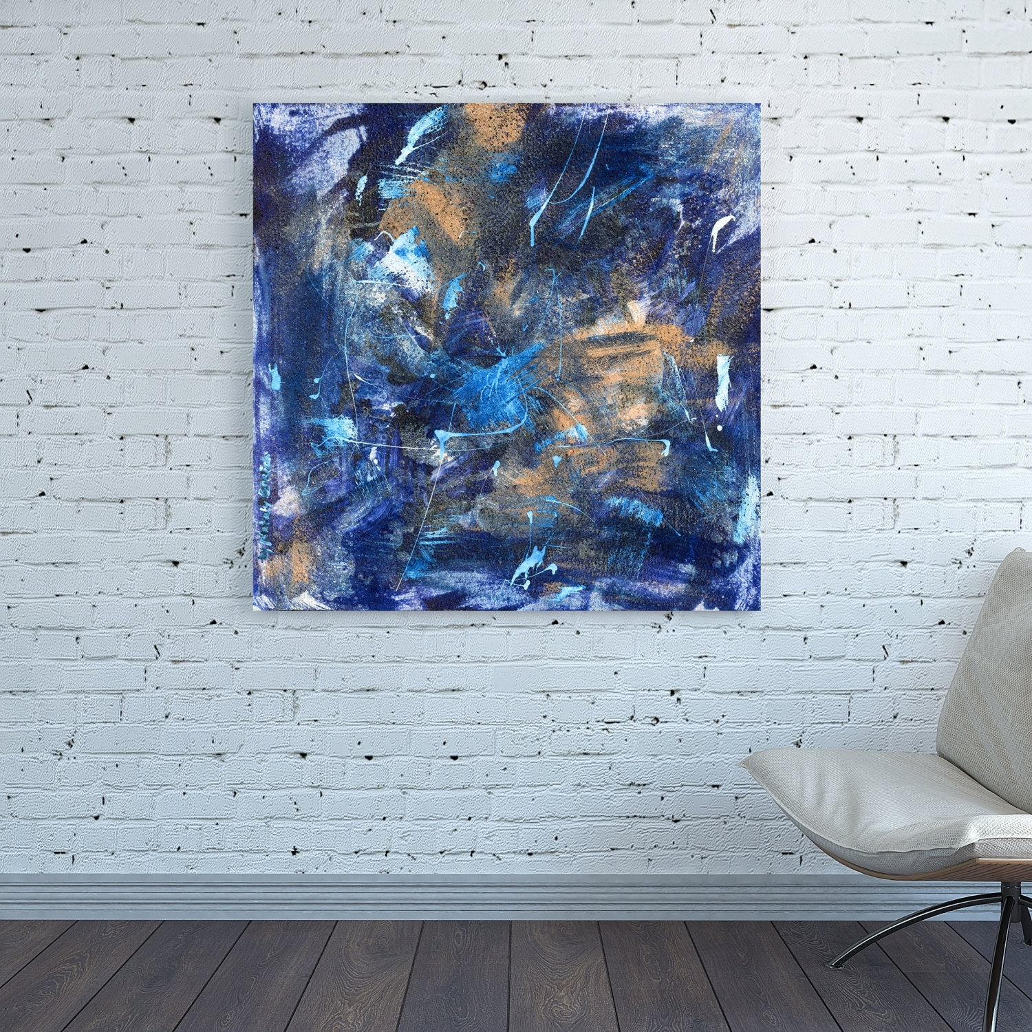 Canvas Print Dark Blue Abstract Wall Art Square Blue Colorful Regarding Most Current Dark Blue Abstract Wall Art (View 4 of 20)