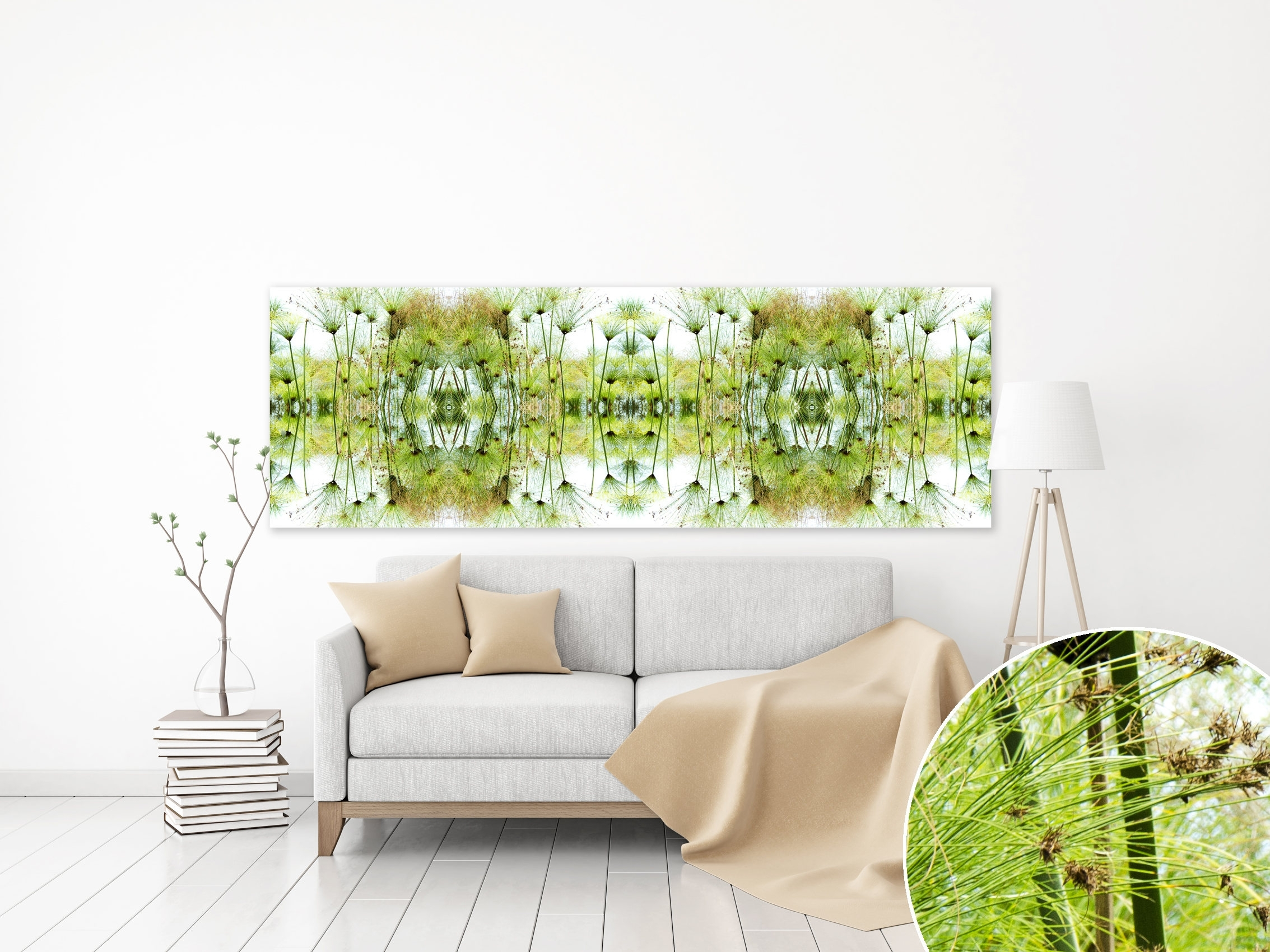 Canvas Print Panoramic Horizontal Green White Greenery Wall Art Intended For Best And Newest Horizontal Abstract Wall Art (View 5 of 20)