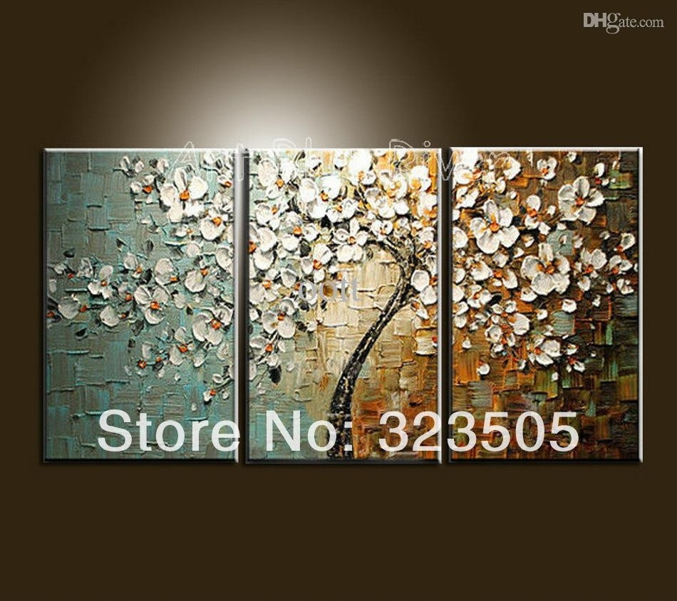 Canvas Wall Art Modern Abstract Wall Panel Textured White Cherry Intended For Recent Cherry Blossom Oil Painting Modern Abstract Wall Art (View 6 of 20)