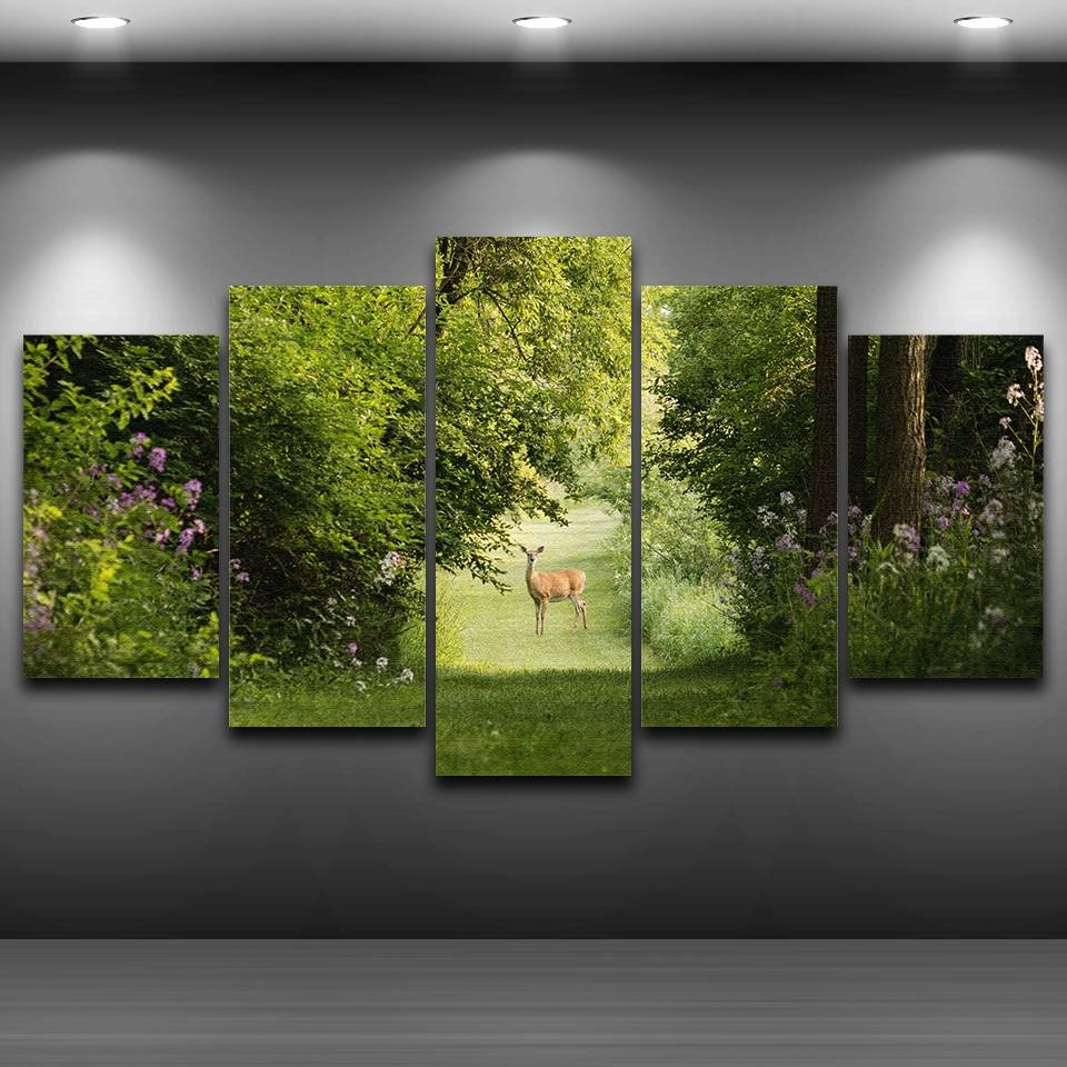 Canvas Wall Art Pictures Living Room Poster Frame 5 Pieces Forest Throughout Latest Animal Wall Art canvas (View 13 of 20)