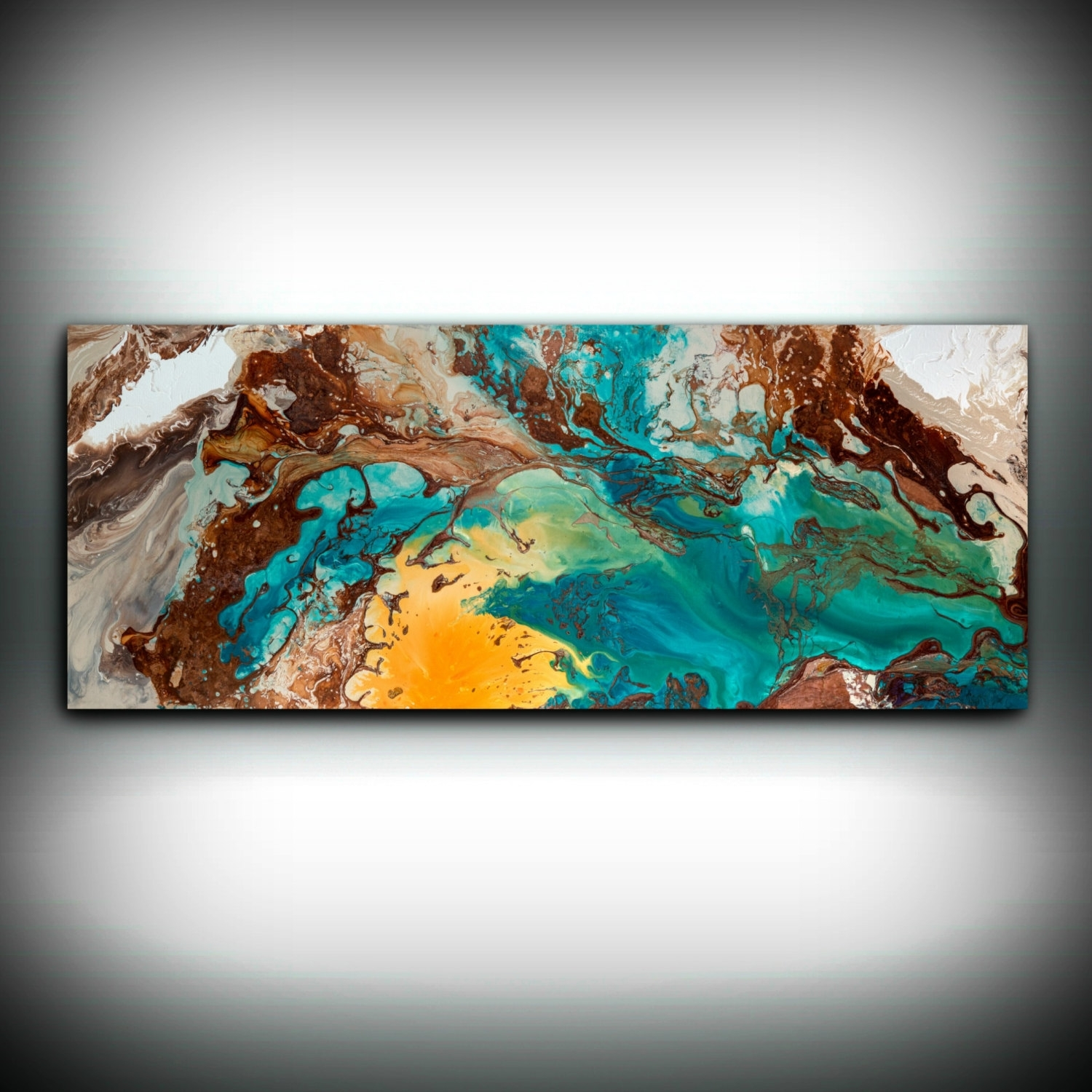 Canvas Wall Decor Large Abstract Wall Art Print Blue Brown Modern Within Most Current Abstract Copper Wall Art (View 15 of 20)