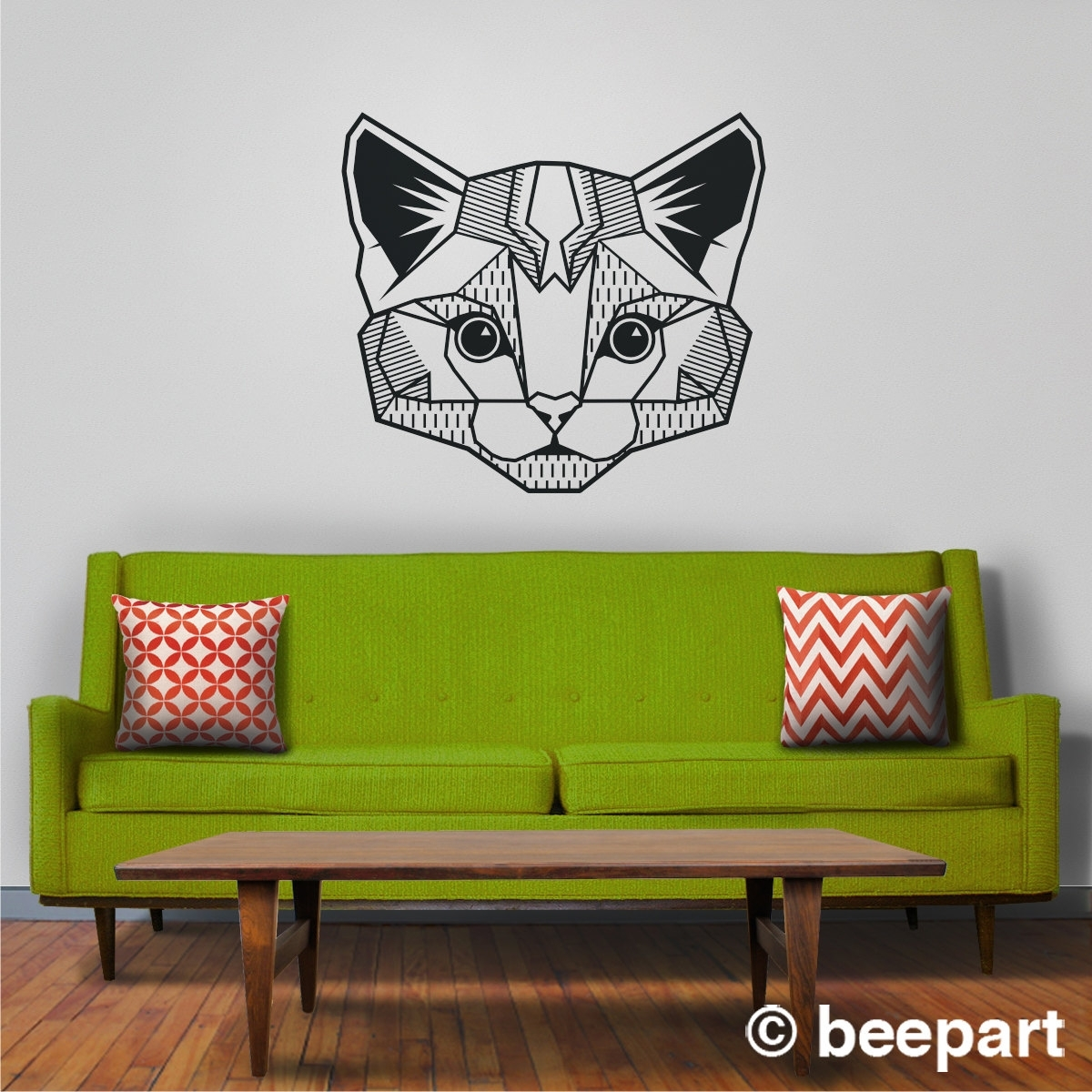 Cat Wall Decal, Geometric Cat Art, Abstract Feline Wall Sticker For Most Popular Abstract Art Wall Decal (View 10 of 20)
