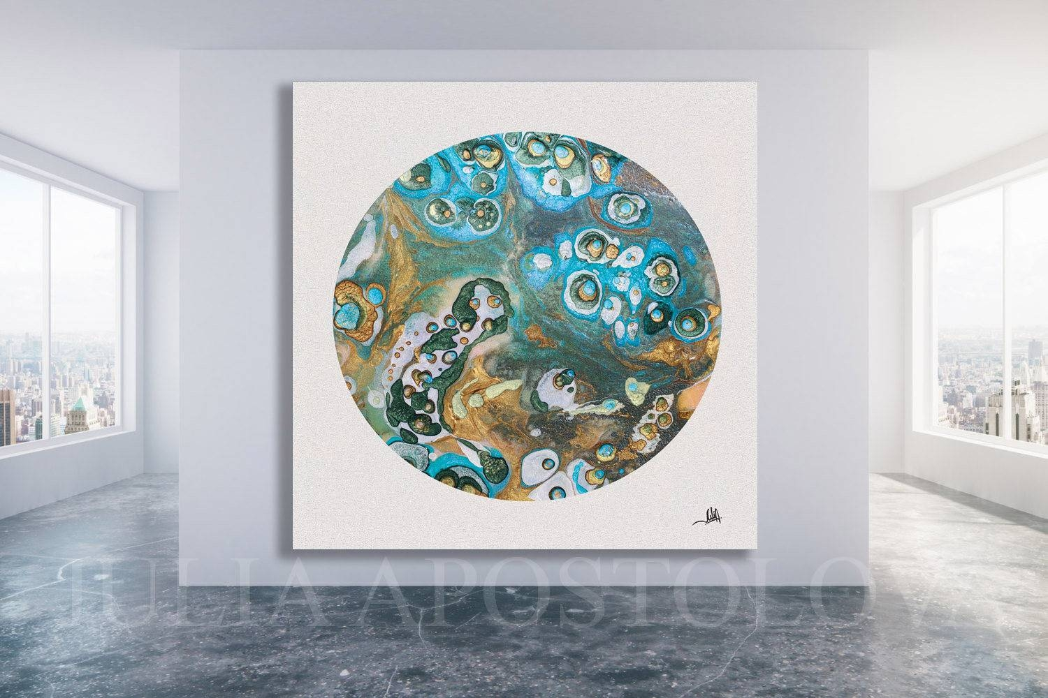 Cell Painting Fluid Art Coastal Wall Art Abstract Intended For Most Recent Coastal Wall Art Canvas (View 18 of 20)