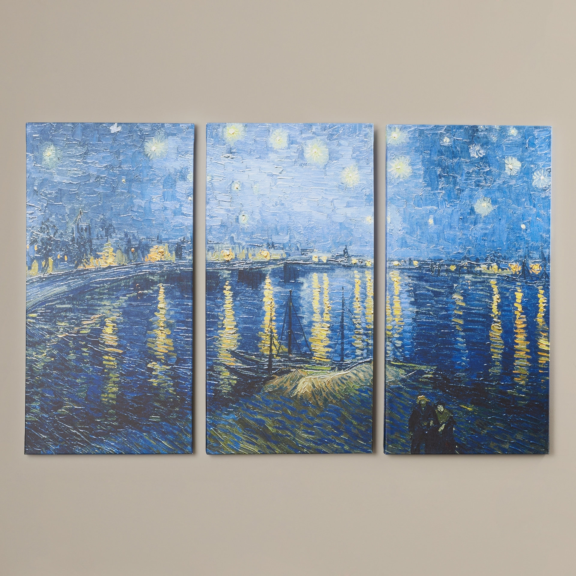 Charlton Home 'starry Night Over The Rhone'vincent Van Gogh 3 Intended For Latest Vincent Van Gogh Multi Piece Wall Art (View 5 of 20)