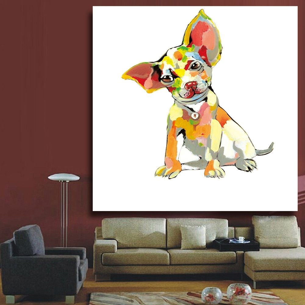 Chenfart Decorative Paintings Modern Canvas Oil Painting Abstract Regarding Most Current Abstract Dog Wall Art (View 6 of 20)