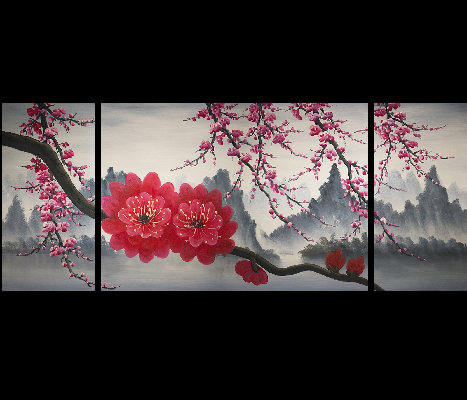 Cherry Blossom Painting Chinese Feng Shui Flower Painting Modern Inside Recent Cherry Blossom Oil Painting Modern Abstract Wall Art (View 8 of 20)