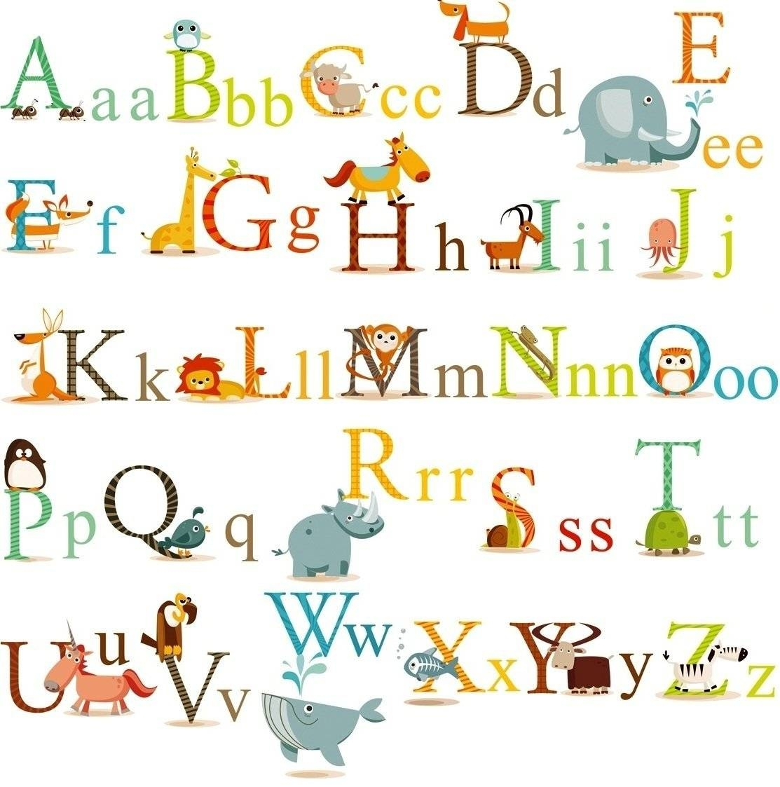Cherrycreek Decals Stickers: Classic Animals Alphabet Baby Nursery Pertaining To 2018 Nursery Animal Wall Art (View 5 of 20)