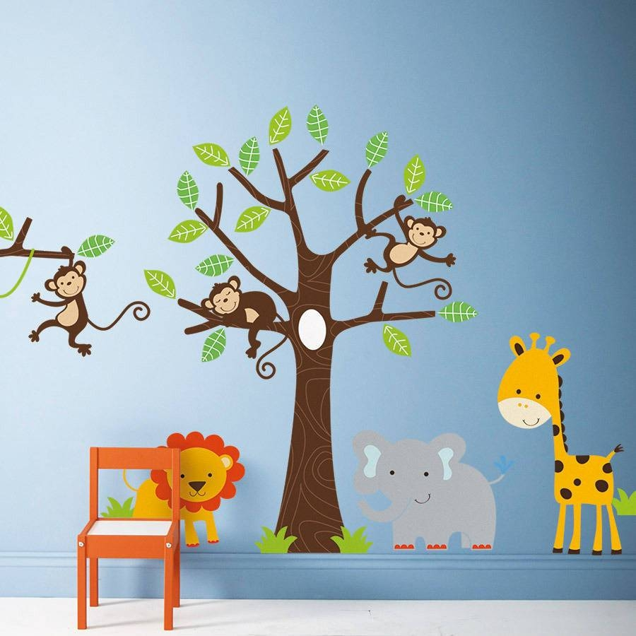 Children's Jungle Wall Stickersparkins Interiors Intended For Most Recent Safari Animal Wall Art (View 6 of 20)