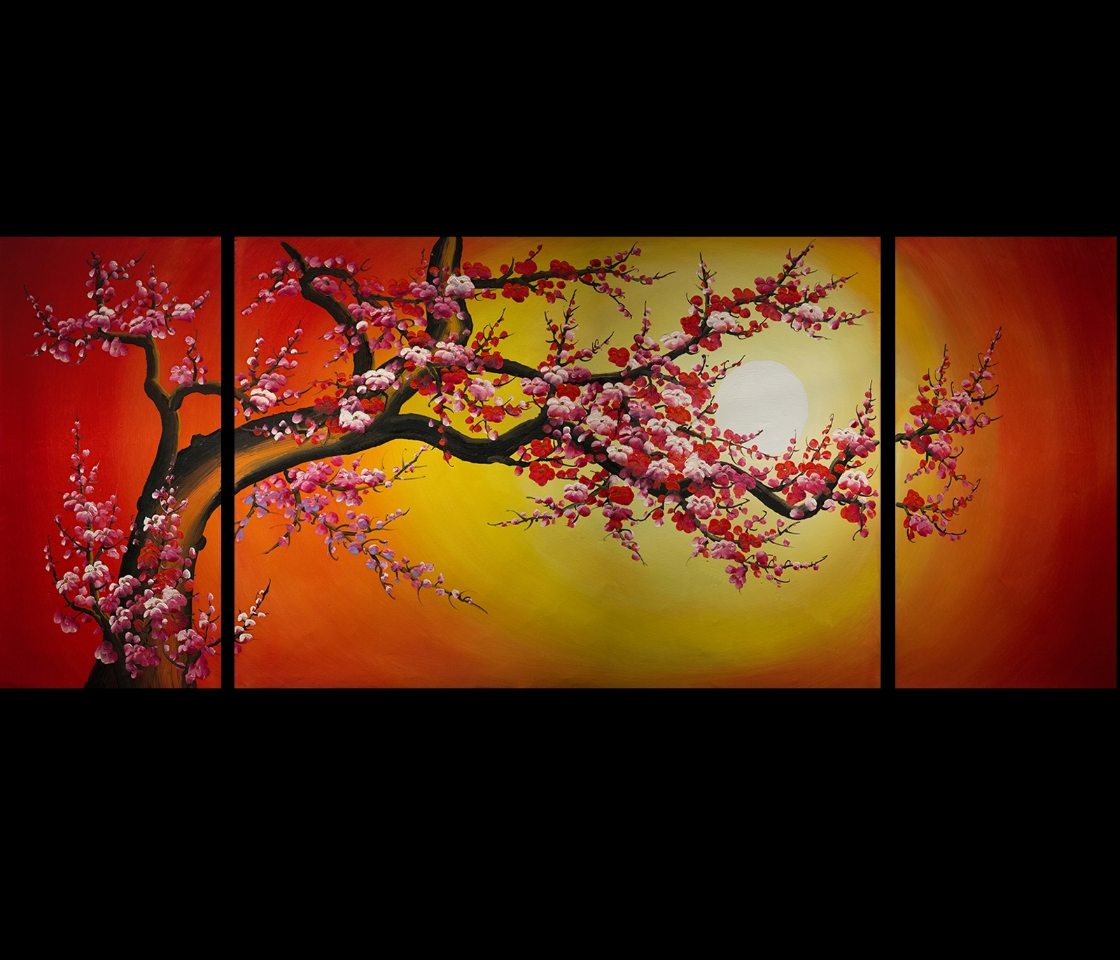 Chinese Cherry Blossom Feng Shui Oil Painting Abstract Art Modern Intended For 2018 Cherry Blossom Oil Painting Modern Abstract Wall Art (View 7 of 20)