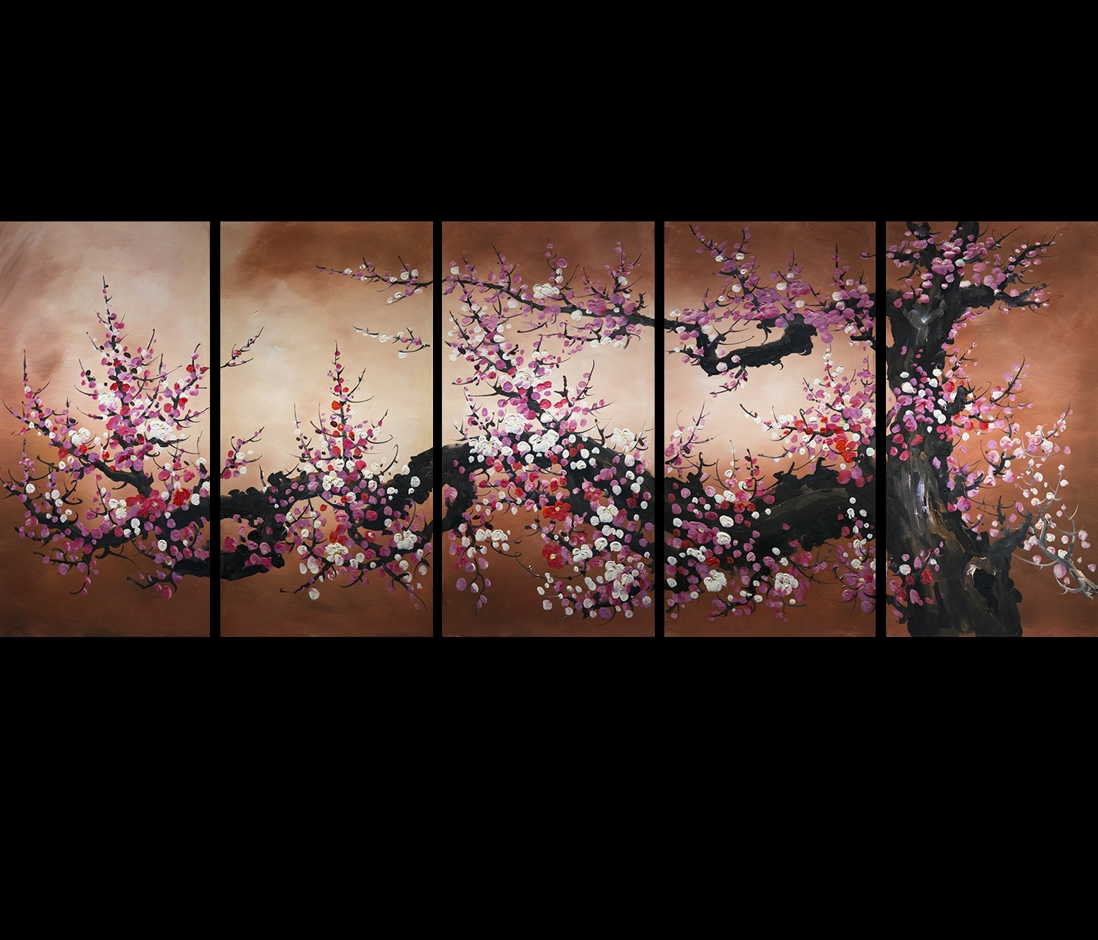Chinese Feng Shui Painting Cherry Blossom Painting Flower Painting Throughout Most Up To Date Cherry Blossom Oil Painting Modern Abstract Wall Art (View 12 of 20)