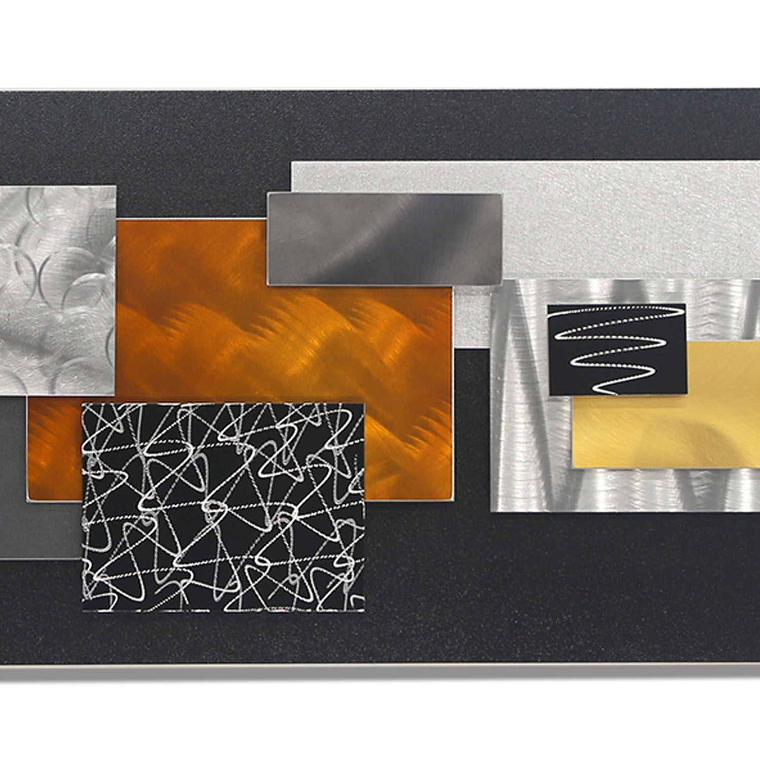 City In Falljon Allen – Black, Silver, Gold & Copper Geometric With Regard To Latest Abstract Geometric Metal Wall Art (View 5 of 20)